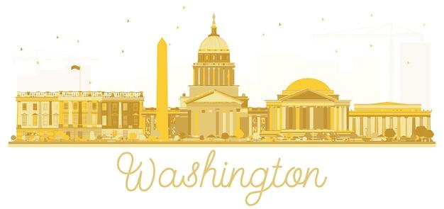 Silhueta dourada do horizonte da cidade de washington dc eua. ilustração vetorial. paisagem urbana com monumentos.