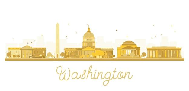 Silhueta dourada do horizonte da cidade de washington dc. ilustração vetorial. paisagem urbana com pontos de referência