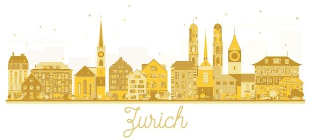Silhueta dourada do horizonte da cidade de zurique suíça. ilustração vetorial. conceito de viagens de negócios. zurique cityscape com marcos.