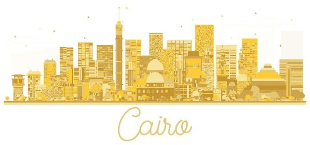 Silhueta dourada do horizonte da cidade do cairo egito. ilustração vetorial. conceito de viagens de negócios. paisagem urbana com monumentos.