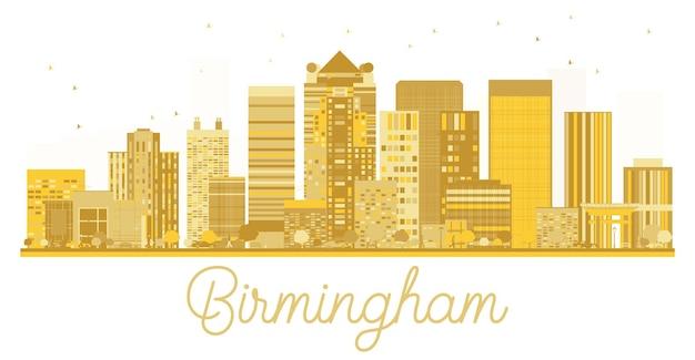 Silhueta dourada do horizonte de birmingham city. ilustração vetorial. conceito de viagens de negócios. birmingham cityscape com marcos.