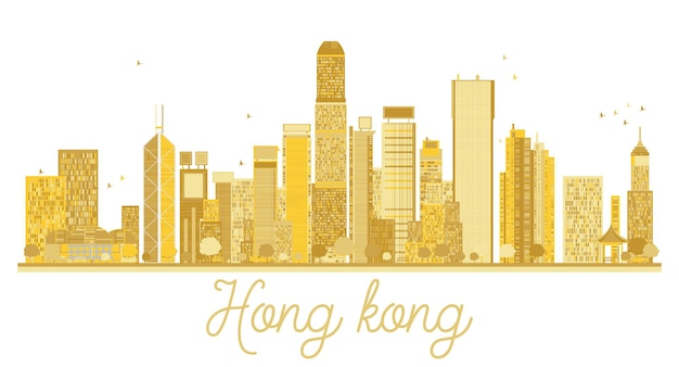 Silhueta dourada do horizonte de hong kong china city. ilustração vetorial.
