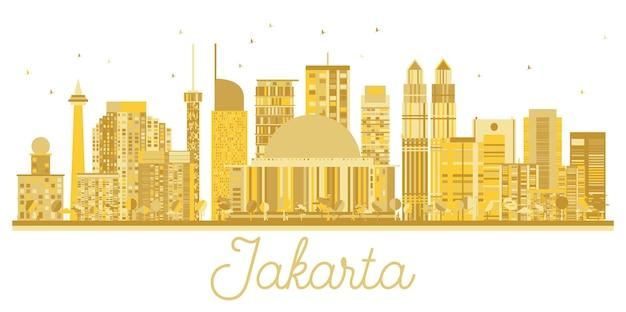Silhueta dourada do horizonte de jacarta indonésia city. ilustração vetorial. conceito de viagens de negócios. jakarta cityscape com marcos.