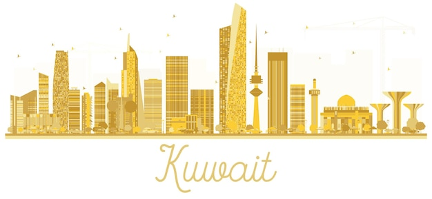 Silhueta dourada do horizonte de kuwait city. ilustração vetorial. conceito plano simples para apresentação de turismo, banner, cartaz ou site da web. conceito de viagens de negócios. kuwait isolado no fundo branco.