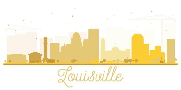 Silhueta dourada do horizonte de louisville city. ilustração plana simples para apresentação de turismo, banner, cartaz ou site da web. paisagem urbana com monumentos.