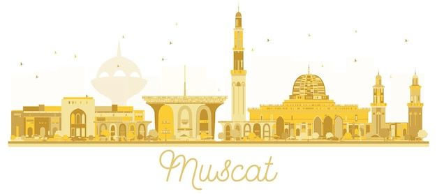 Silhueta dourada do horizonte de muscat oman city. ilustração vetorial. paisagem urbana com pontos de referência