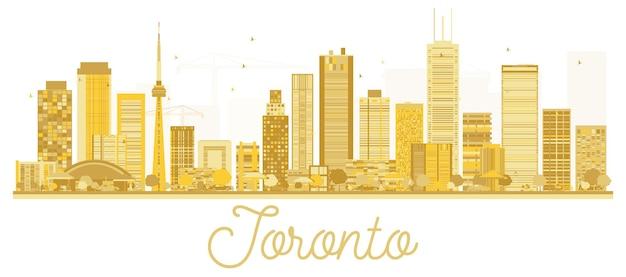 Silhueta dourada do horizonte de toronto canada city. ilustração vetorial. conceito de viagens de negócios. toronto cityscape com pontos de referência