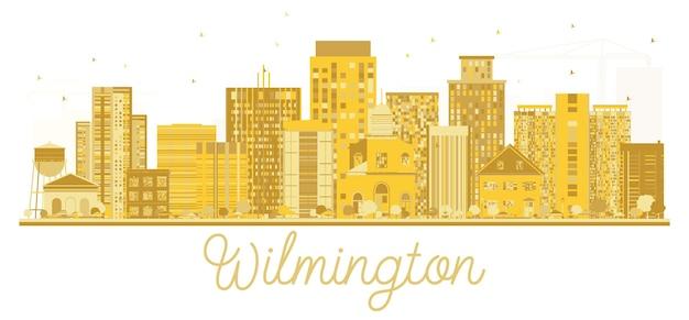 Silhueta dourada do horizonte de wilmington eua city. ilustração vetorial. conceito de viagens de negócios. paisagem urbana com monumentos.