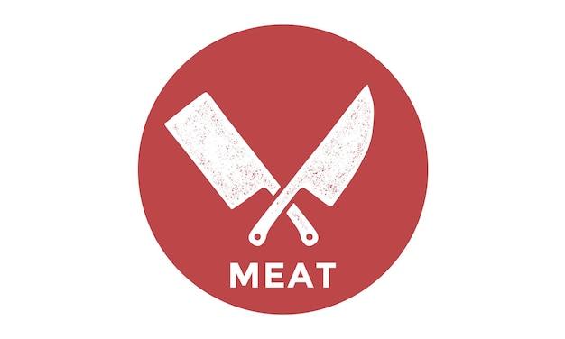 Silhueta duas facas de açougueiro - facas de cutelo e chef