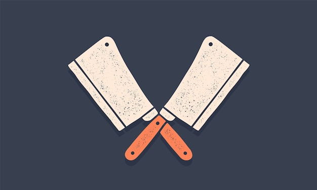 Silhueta duas facas de açougueiro