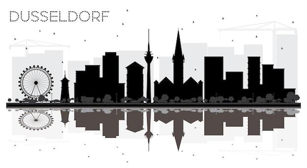 Silhueta em preto e branco do horizonte da cidade de dusseldorf alemanha com ilustração vetorial de reflexões