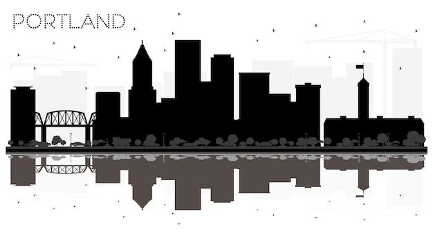Silhueta em preto e branco do horizonte da cidade de portland oregon com ilustração em vetor de reflexões