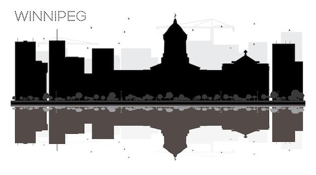 Silhueta em preto e branco do horizonte de winnipeg city com reflexões.