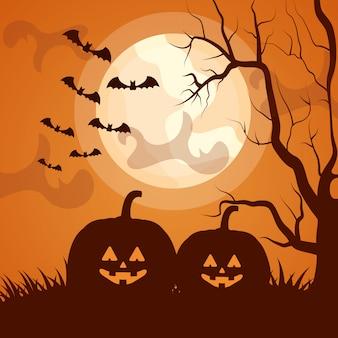 Silhueta escura de halloween com abóboras