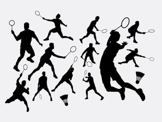 Silhueta esportiva de badminton