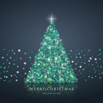 Silhueta estilizada da árvore de natal verde do fundo do vetor do círculo da arte eps10