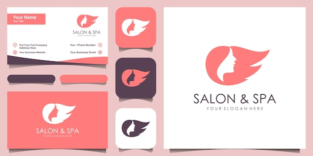 Silhueta estilizada de estilo de cabelo de mulher, modelo de logotipo de salão de beleza