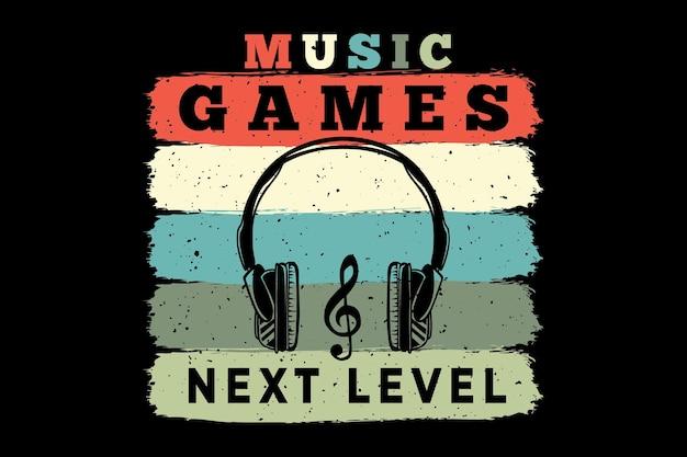 Silhueta fone de ouvido jogos de música retro estilo vintage