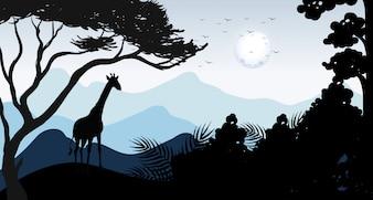 Silhueta Girafa e Cena da Floresta
