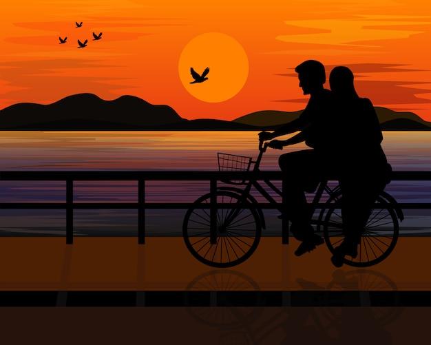 Silhueta homem e mulher na bicicleta vector design