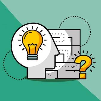 Silhueta homem ideia criatividade questão solução