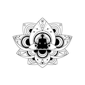 Silhueta humana com modelo de vetor de flor de lótus. rótulo de ioga isolado com meditação feminina em contorno de lótus em fundo branco. ilustração do logotipo de relaxamento e bem-estar