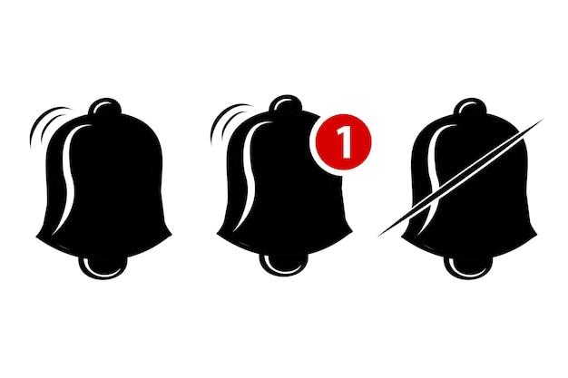 Silhueta, ícone ou logotipo de vetor simples, sino, toque, alerta, notificação, isolado no branco