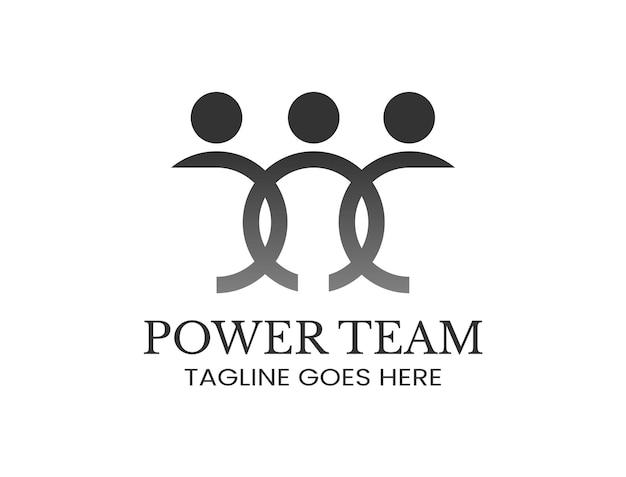 Silhueta icônica de três pessoas para o logotipo do trabalho em equipe