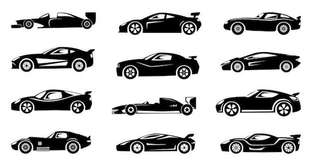 Silhueta negra de carros de corrida. símbolos de esportes isolados. conjunto de ilustração de coleção de carros de silhueta