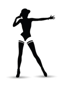 Silhueta negra de mulher bonita em fundo branco