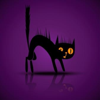 Silhueta negra de vetor de gato bravo e assustado com reflexo sobre um fundo roxo para festa de halloween.