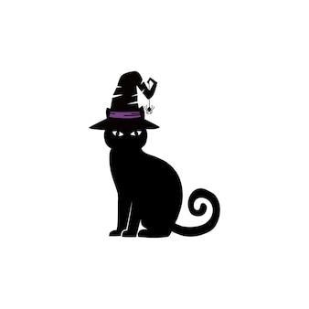 Silhueta negra de vetor de um gato sentado. corvo desenhado de mão. personagens halloween. ilustração vetorial