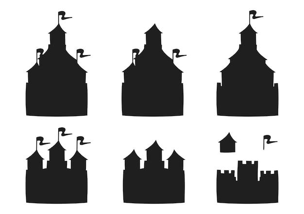 Silhueta negra do castelo de conto de fadas