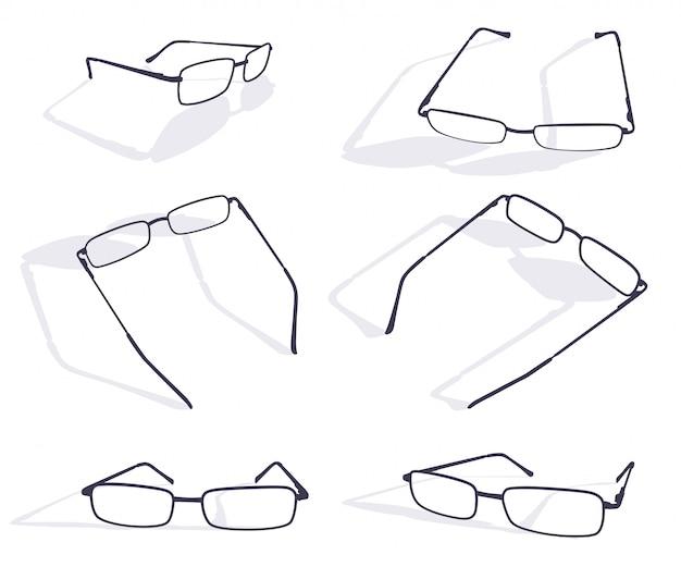 Silhueta negra do conjunto de óculos de óculos
