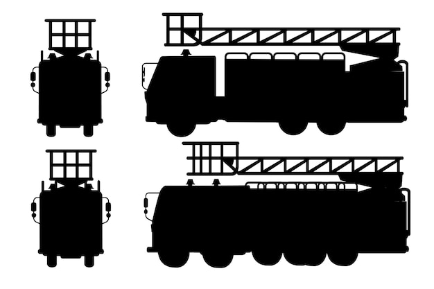 Silhueta negra dos desenhos animados do projeto dos carros do caminhão de bombeiros definido ilustração vetorial plana