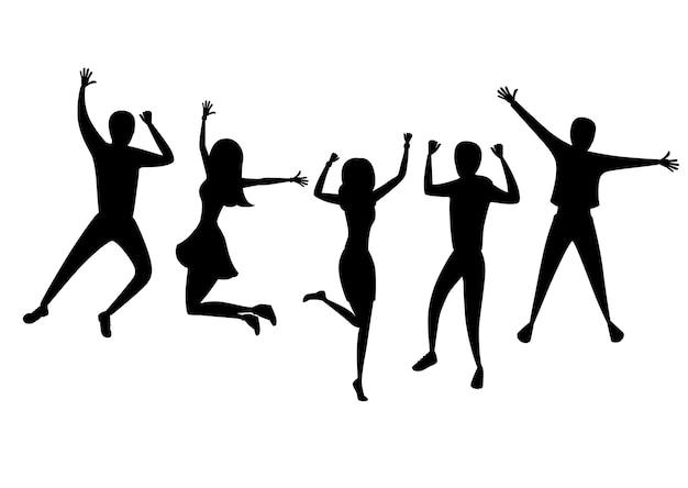 Silhueta negra. feliz grupo de pessoas pulando. personagem de desenho animado . conceito de amizade. ilustração em fundo branco