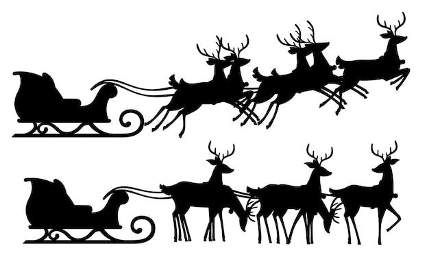 Silhueta negra. trenó de papai noel de natal e grupo de veados. ilustração em fundo branco. trenó de madeira com veado mítico voador