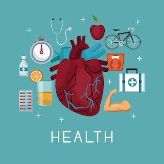 Silhueta órgão do coração com ícones de elementos saudáveis ao redor