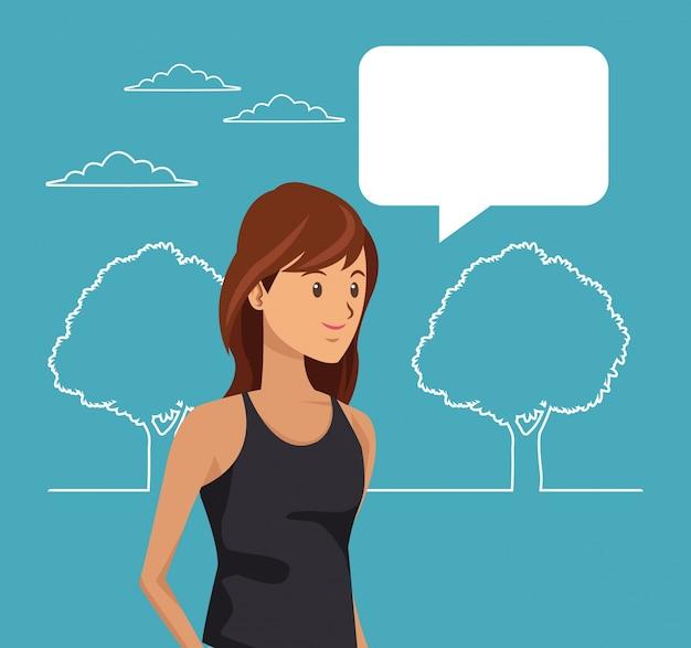 Silhueta paisagem e estudante com caixa de diálogo