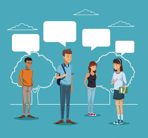 Silhueta paisagem e estudantes de pé com caixas de diálogo