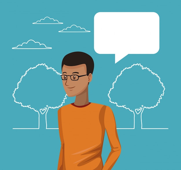 Silhueta paisagem e menino estudante com caixa de diálogo