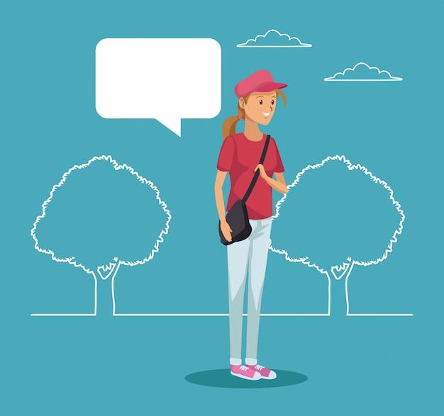 Silhueta, paisagem, menina, estudante, ficar, diálogo, caixa