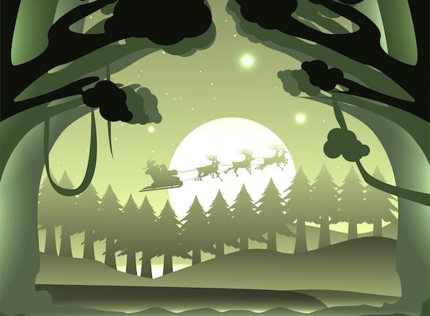 Silhueta papai noel e renas na floresta