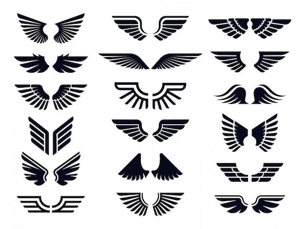 Silhueta par de ícone de asas. asa de anjo, emblema decorativo de mosca e conjunto de ícones de vetores de símbolos de estêncil de águia
