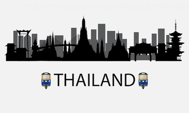 Silhueta para bangkok na tailândia e marcos e lugar de viagem