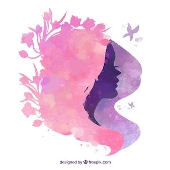 Silhueta penteado floral
