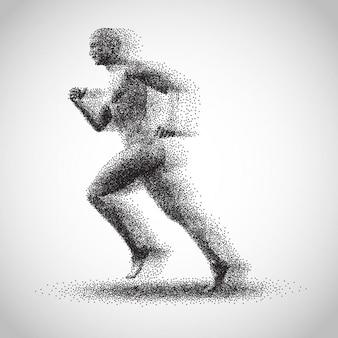 Silhueta pontilhada homem correndo