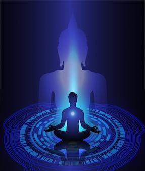 Silhueta preta de buddha de encontro à obscuridade - fundo azul. ioga