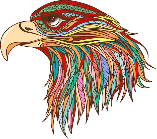 Silhueta preta de vetor da cabeça de uma águia