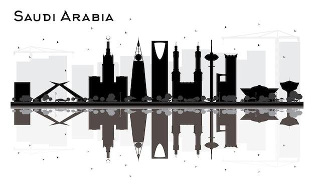 Silhueta preto e branco do horizonte da arábia saudita com reflexos. ilustração vetorial. conceito plano simples para apresentação de turismo, banner, cartaz ou site da web. paisagem urbana com monumentos.